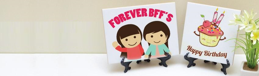 Create personalised ceramic tiles online with Printcious Gifts using your digital photos.