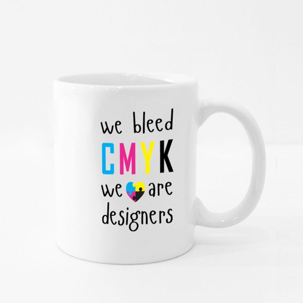 We Bleed Cmyk With Heart Colour Mugs
