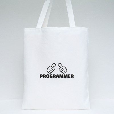 Programmer With Thumbs Tote Bags