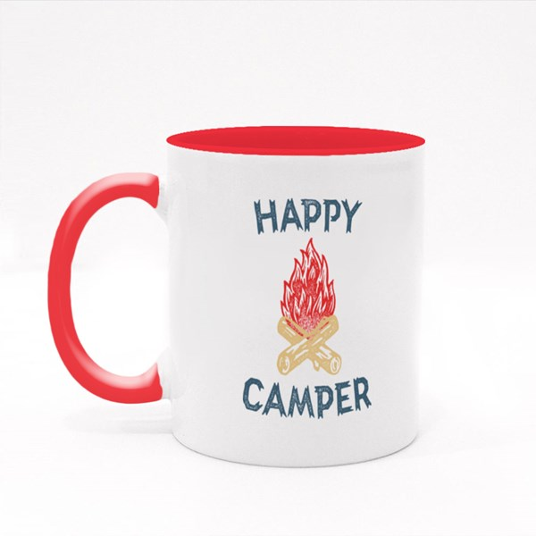 Happy Camper Hand Lettering Colour Mugs