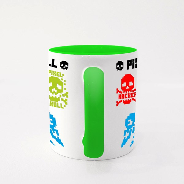 Digital Skull, Pixel Colour Mugs