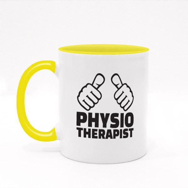 Physiotherapist With Thumbs Colour Mugs