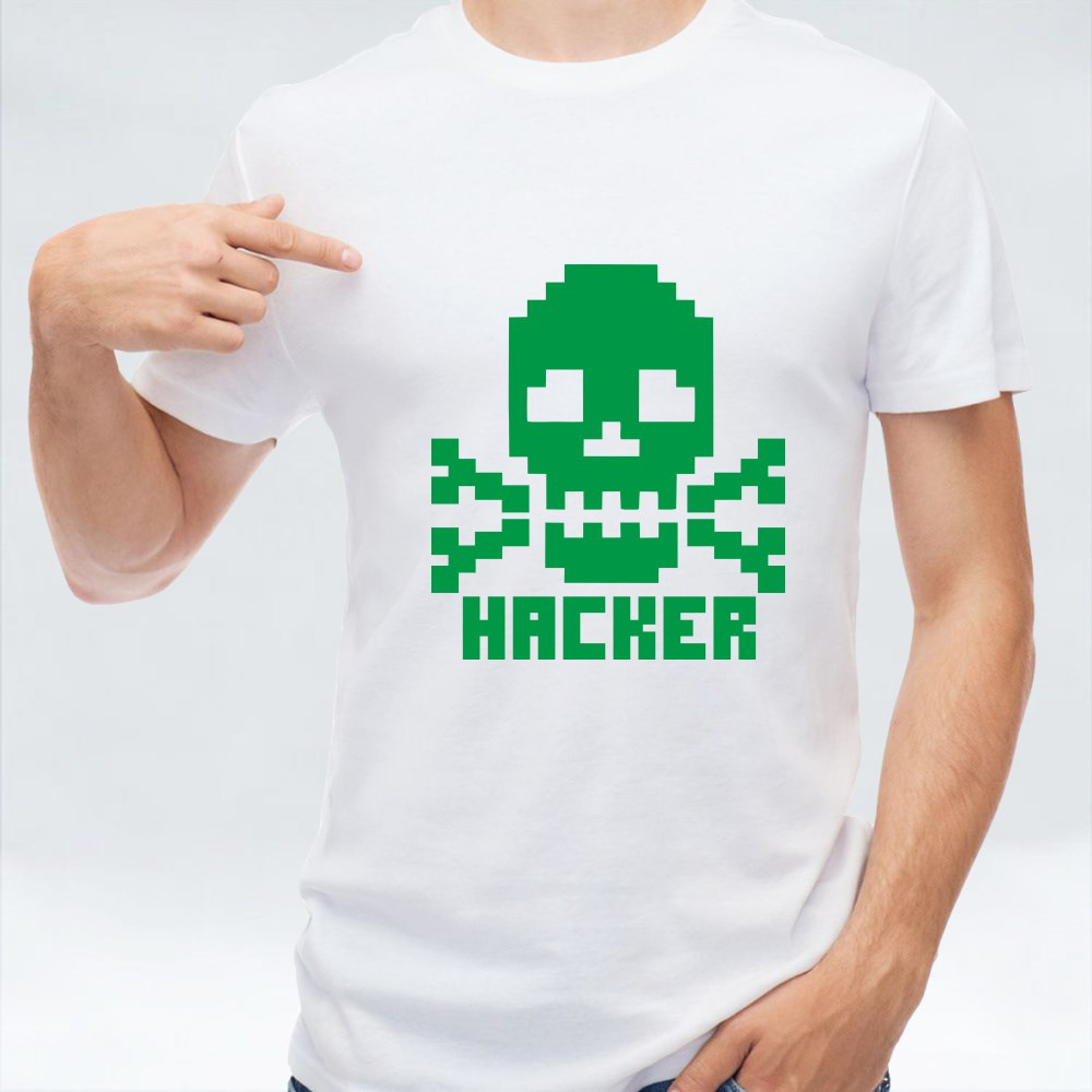 Hacker Sign With Pixel Skull T-Shirts