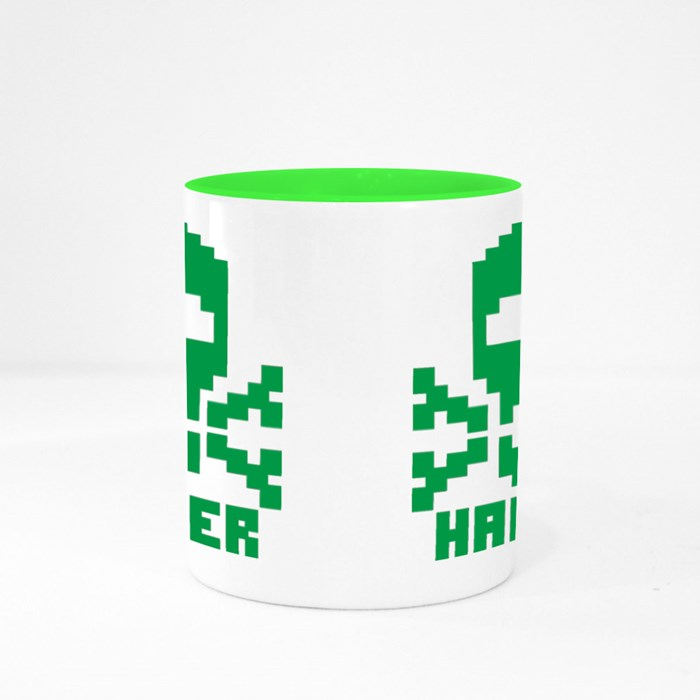 Hacker Sign With Pixel Skull Colour Mugs