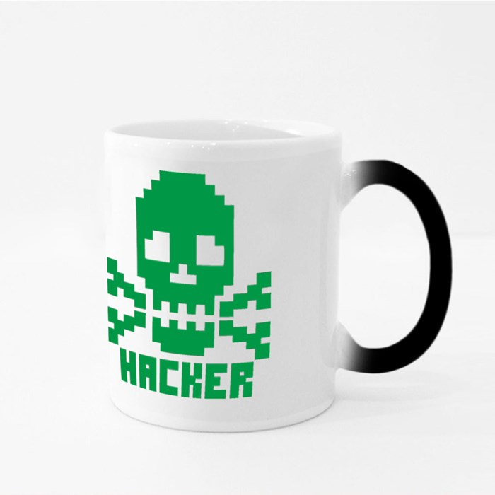 Hacker Sign With Pixel Skull Magic Mugs