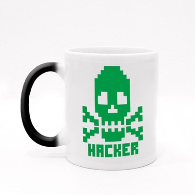 Hacker Sign With Pixel Skull 魔法杯