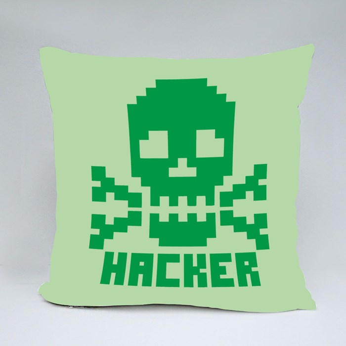 Hacker Sign With Pixel Skull Throw Pillows