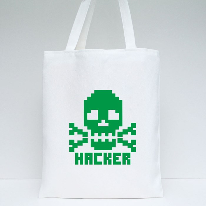 Hacker Sign With Pixel Skull Tote Bags