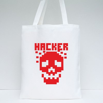Hacker Sign With Pixel Skull 帆布袋