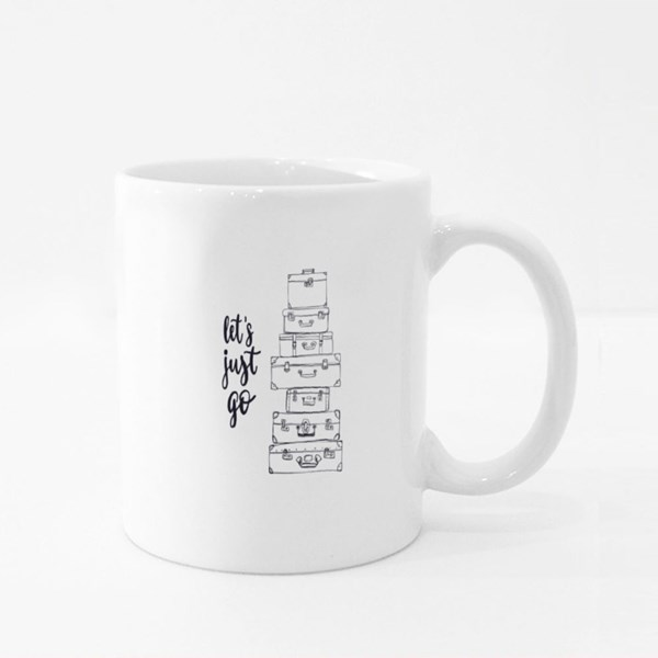Let's Just Go Traveling Quote Colour Mugs
