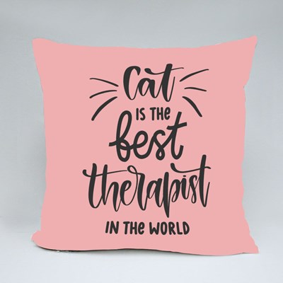 Cat Is the Best Therapist Throw Pillows