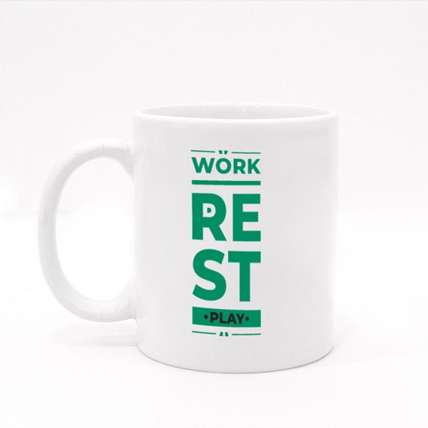 Work Rest and Play Colour Mugs