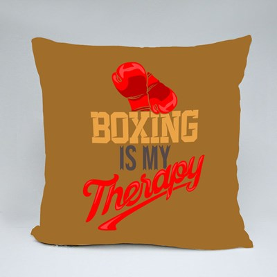 Boxing Is My Therapy Throw Pillows