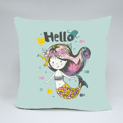Cute Mermaid Under the Water Throw Pillows