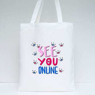 See You Online Wfh Tote Bags