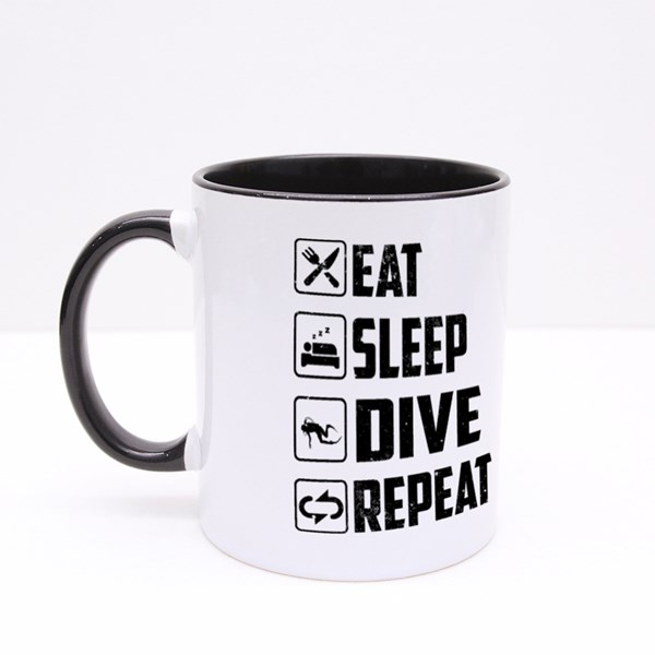 Eat Sleep Dive Repeat Colour Mugs