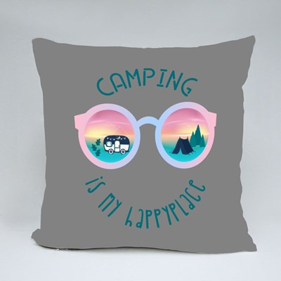 Camping Is My Happy Place Throw Pillows