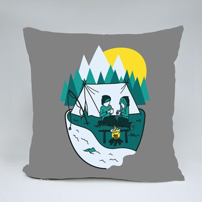 Camping in Nature Throw Pillows