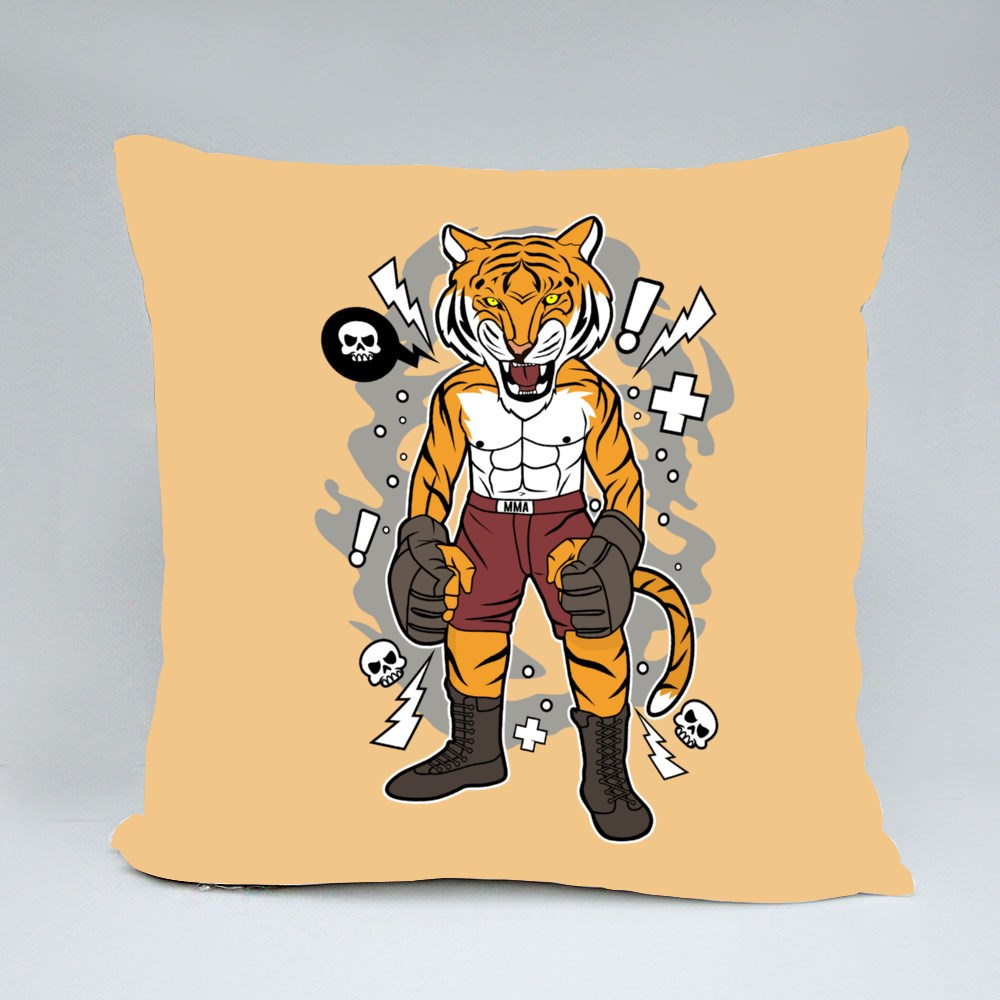Angry Tiger Fighter Throw Pillows