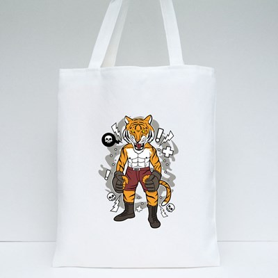 Angry Tiger Fighter Tote Bags