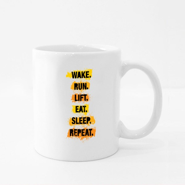 Wake Run Lift Eat Sleep Repeat Colour Mugs