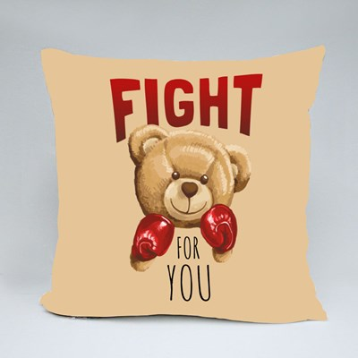 Fight for You Bear Throw Pillows