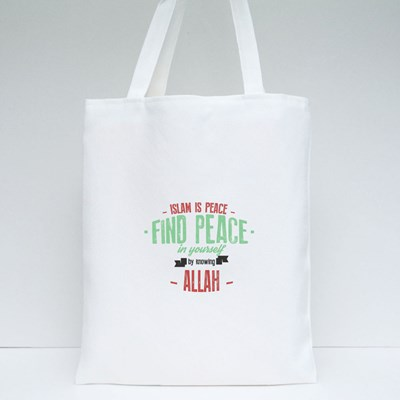 Islam Is Peace Find Peace Tote Bags
