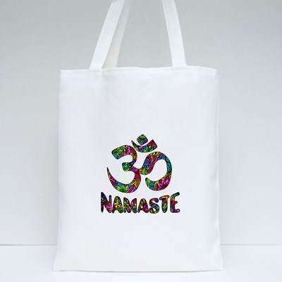 Om and Namaste on Pattern Tote Bags