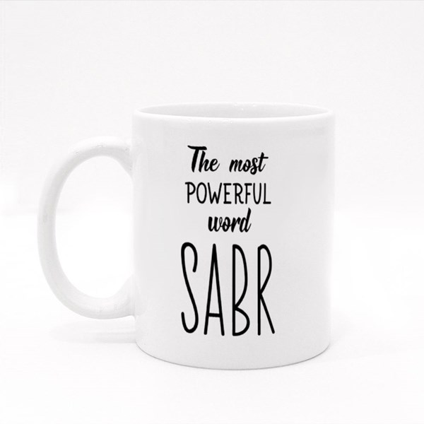 The Most Powerful Word Sabr Colour Mugs