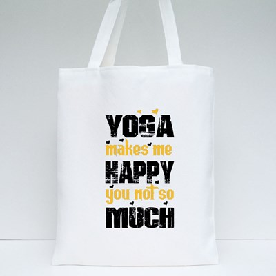 Yoga Makes Me Happy Tote Bags