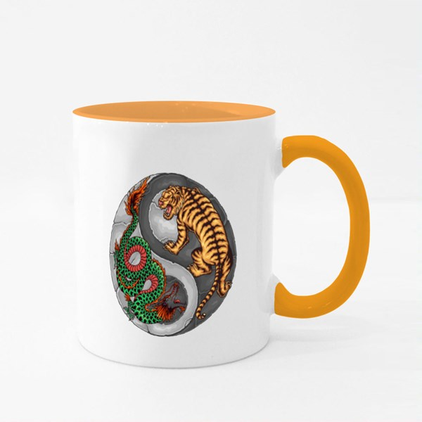 Dragon Tiger Yin Yang Colour Mugs