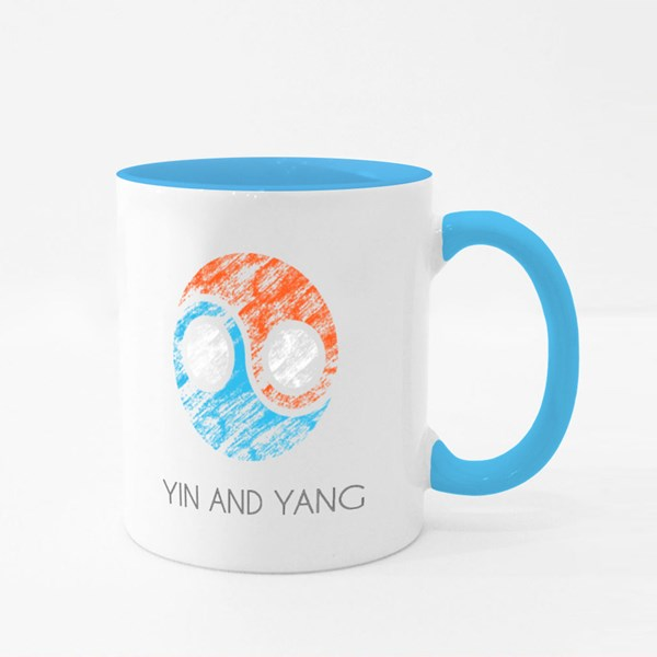 Yin and Yang Logo in Grunge Colour Mugs