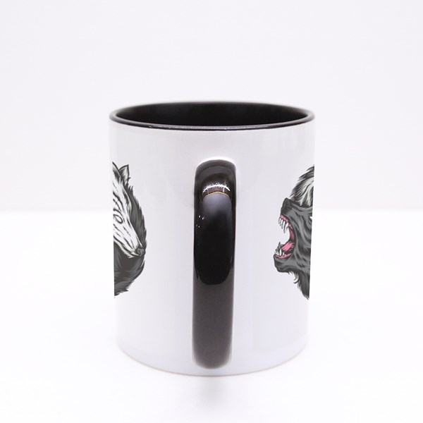 Yin Yang Wolf Vector Logo Colour Mugs