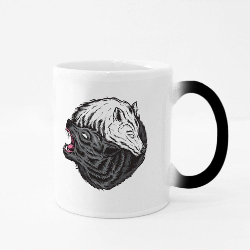 Yin Yang Wolf Vector Logo Magic Mugs
