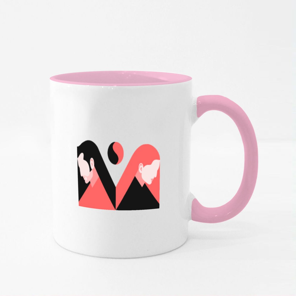 Two Lovers, Man and Woman Colour Mugs