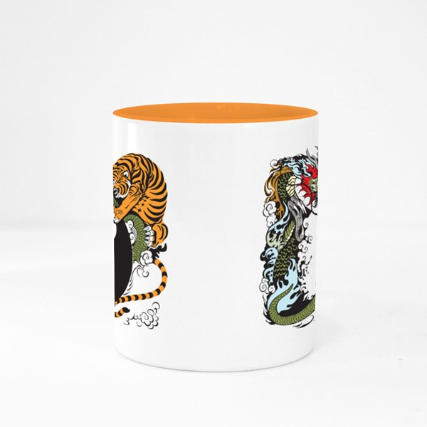 Dragon and Tiger Fight Colour Mugs