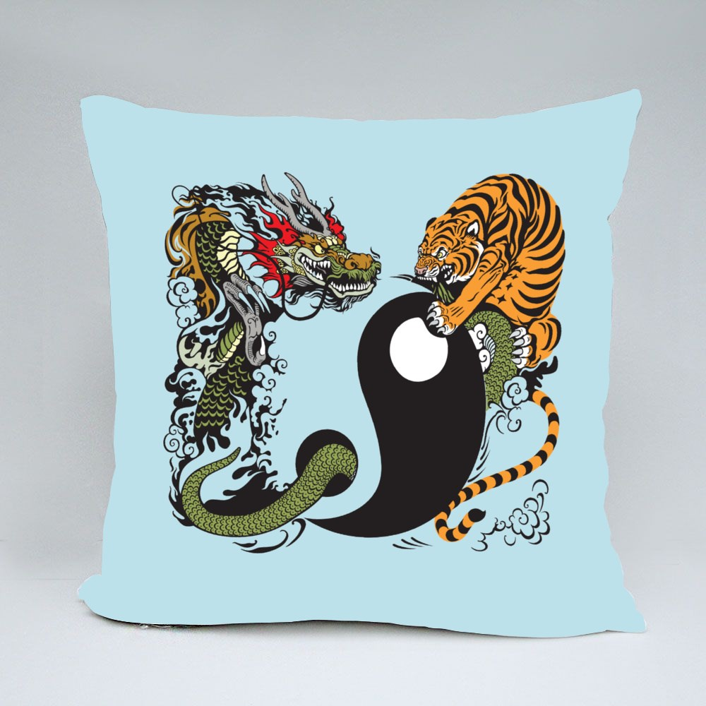 Dragon and Tiger Fight Throw Pillows