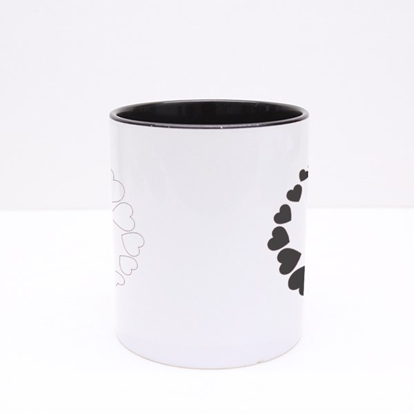 Hearts Yin-Yang Symbol. Colour Mugs