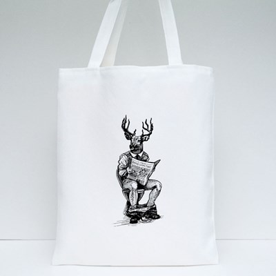 Hipster Man With Deer Head Tote Bags