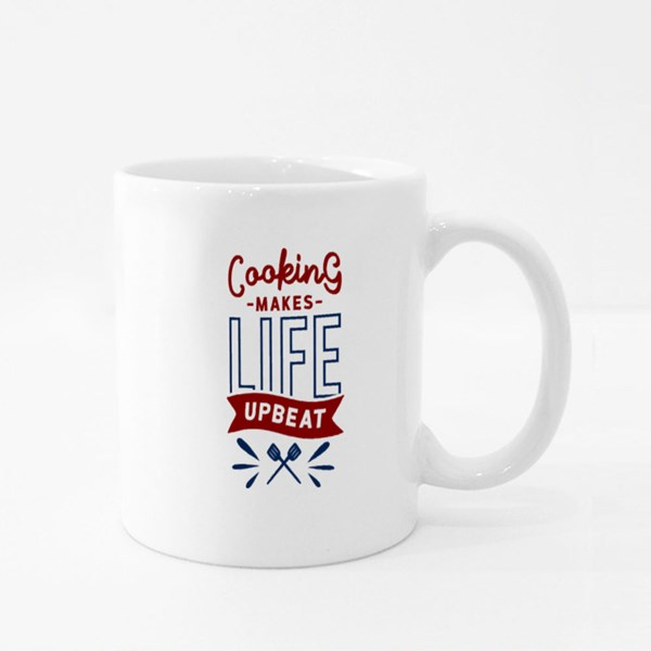 Cooking Makes Life Upbeat Colour Mugs