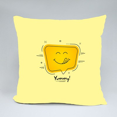 Yummy Smile Emoji Throw Pillows