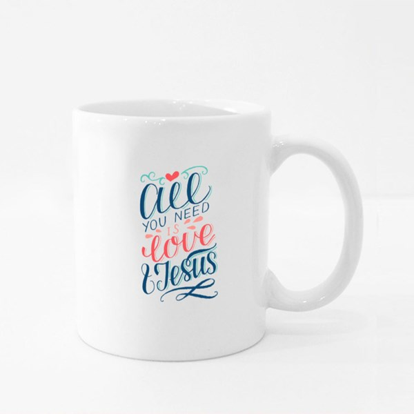 All You Need Is Love and Jesus Colour Mugs