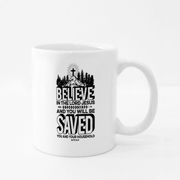 Believe in the Lord Jesus Colour Mugs