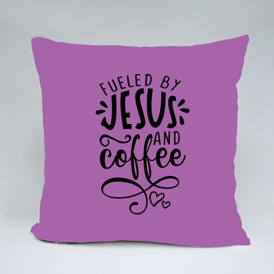 Fueled by Jesus and Coffee Throw Pillows