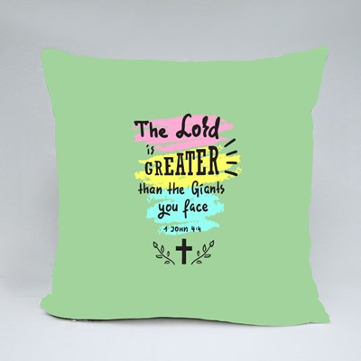The Lord Is Greater Throw Pillows