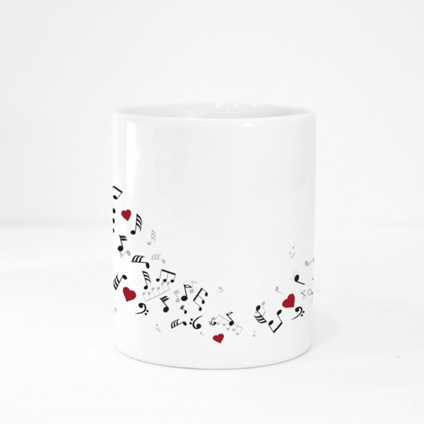 Musical Notes With Hearts Colour Mugs