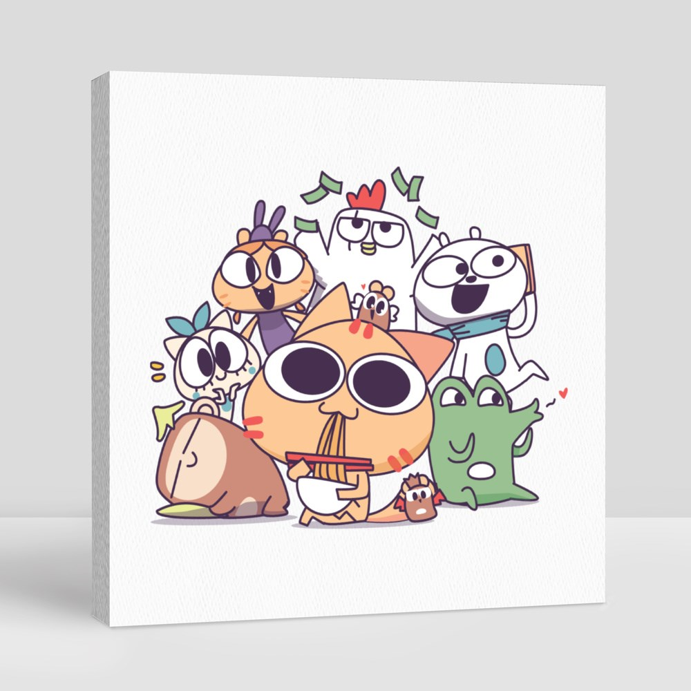 Miao and the Gang: Together Canvas (Square)