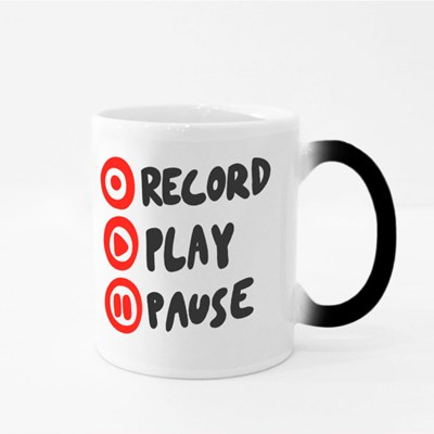 Record Play Pause Magic Mugs