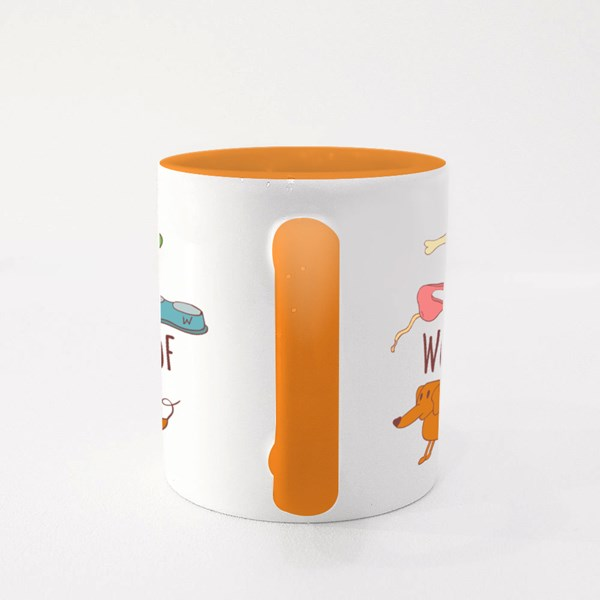 Keep Calm and Woof-Woof Colour Mugs