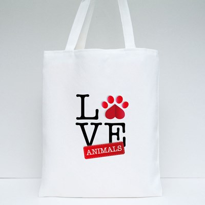 Love Animals With Red Paws Tote Bags